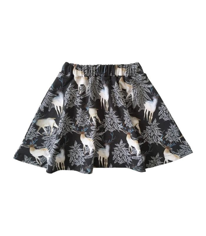 Sort nederdel med offhvide rensdyr og grankviste