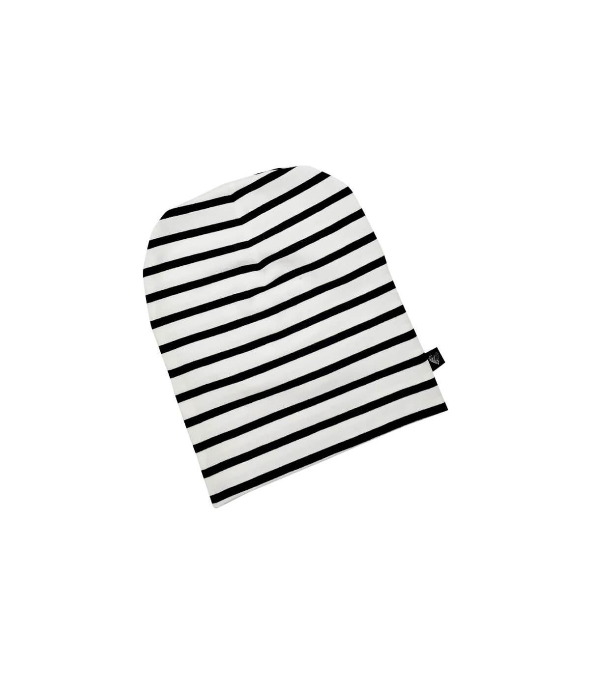 Hue med sort og hvide striber