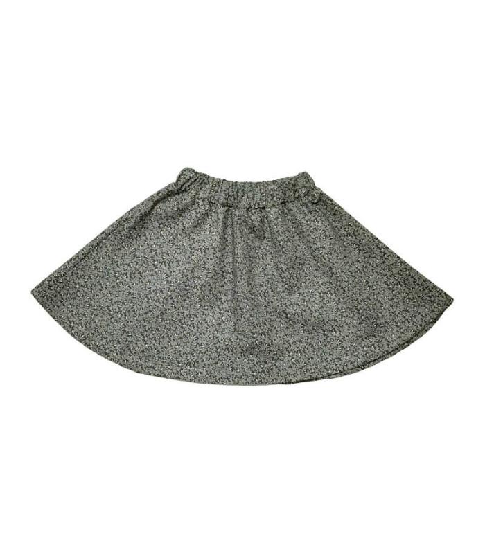 Grå nederdel - grå med små blade