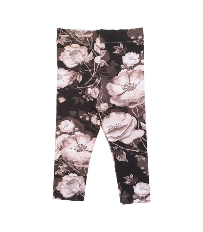 Leggings med blomsterprint - brun med pudder/grå blomster