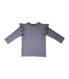 Bluse med flæser på ærmet - grå