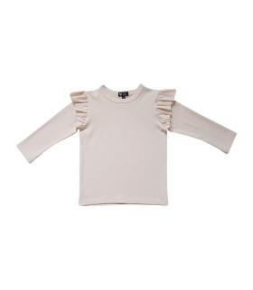 Bluse med flæser ved ærmet - rosa