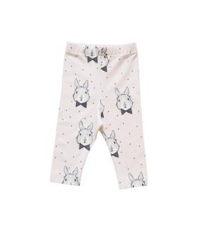 Lyserøde pige leggings med kaniner - Petitflora