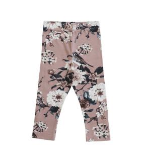 Leggings med blomsterprint - gammelrosa