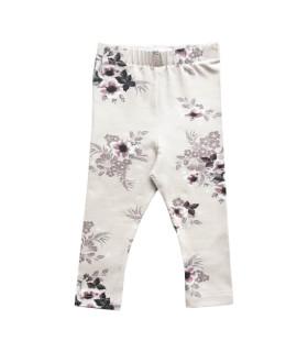 Beige legging med blomster - Petitflora