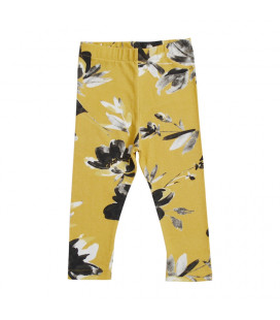 Leggings - gul med blomsterprint