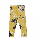 Leggings - gul med blomsterprint