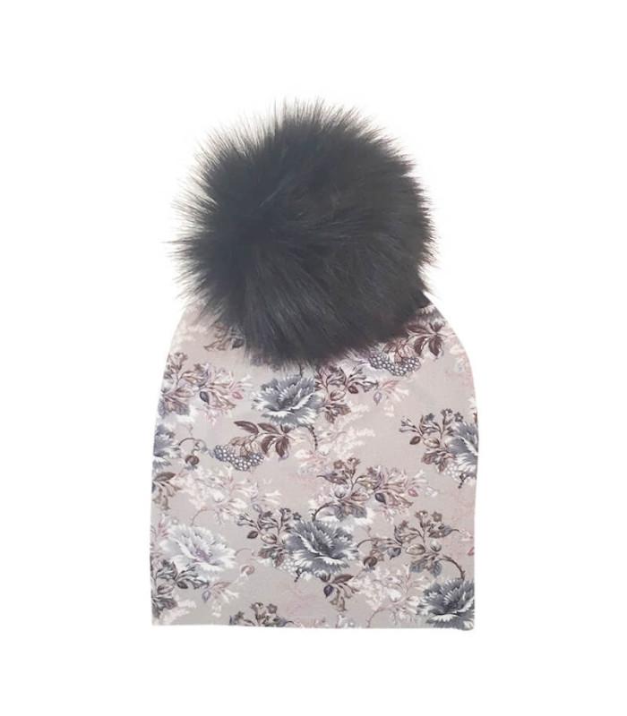 Babyhue med kvast. Grå med print. Sort kvast – Hue – 1-3 år (ca. 44 cm )