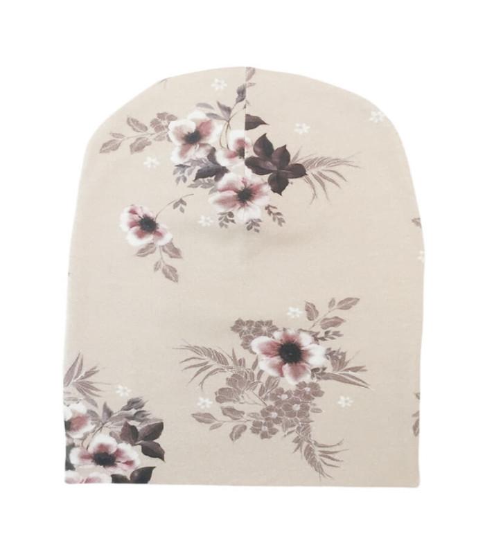 Hue med blomsterprint - beige