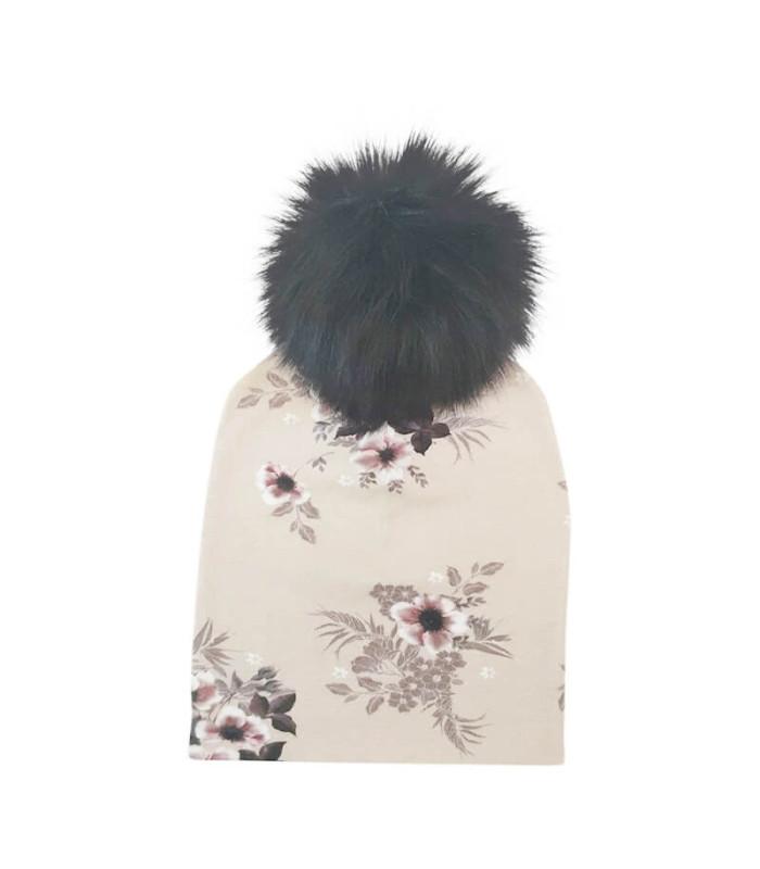 Beige hue med kvast til børn. 100% økotex – Hue – 8-10 år ( ca. 50 cm. )