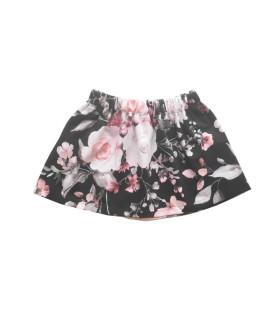 Nederdel - sort m. lyserøde blomster - Petitflora