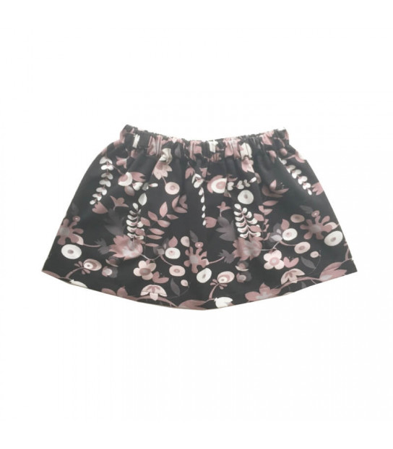 Sort nederdel med blomster