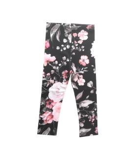 Sorte leggings m. lyserøde roser
