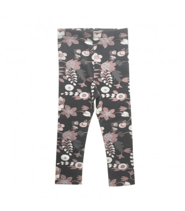 Leggings m. blomster - Sort / rosa