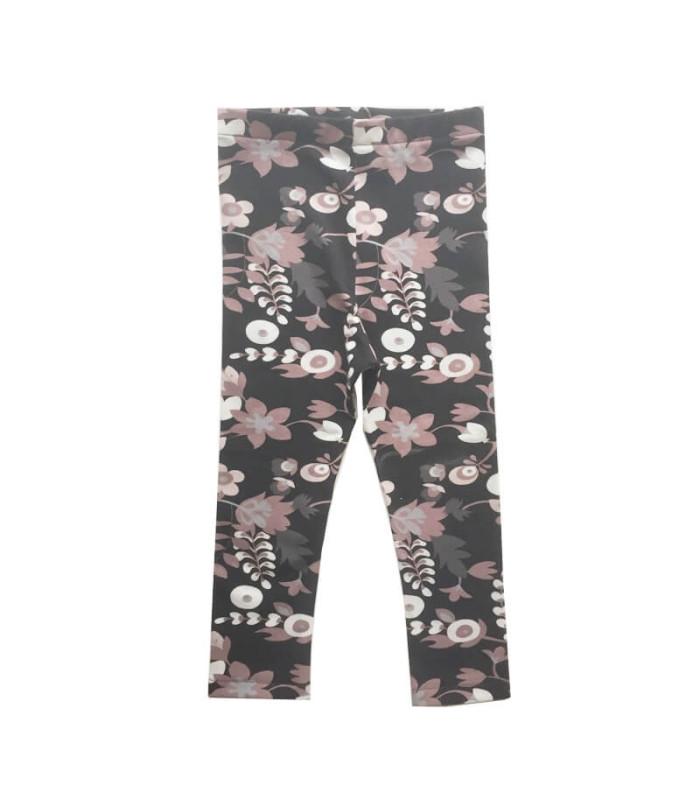 Leggings m. blomster - Sort / rosa