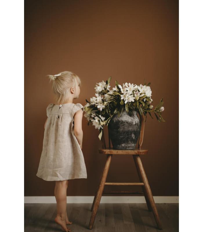 Hør kjole - beige - Petitflora