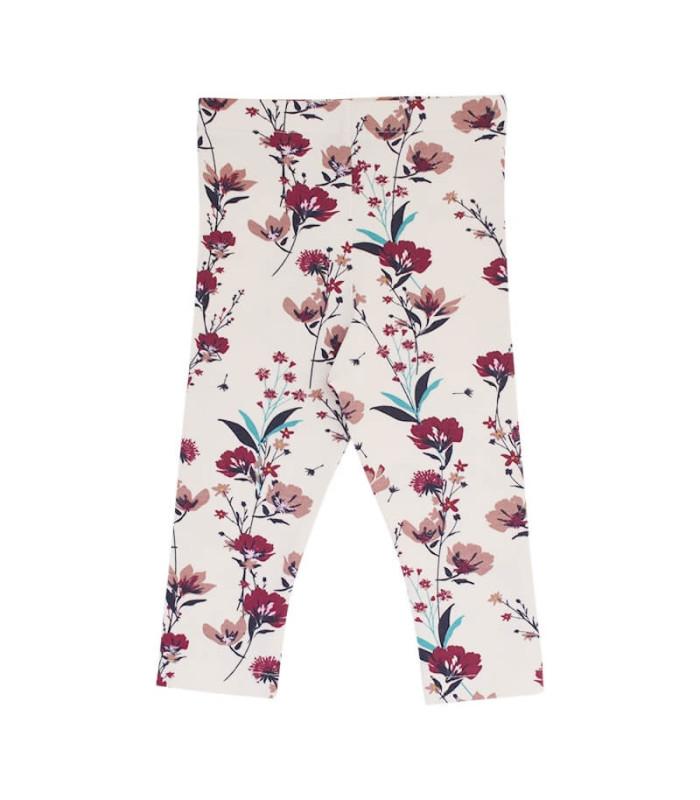 Leggings - creme m. blomster - Petitflora