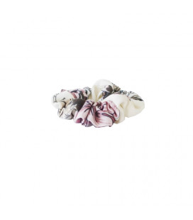 Hårelastik - off hvid m. print - Petitflora