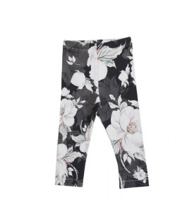 Leggings - Vilma - sort m. print - Petitflora