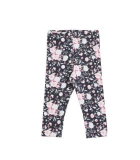 Blomstret leggings med blomster print - sort - Petitflora
