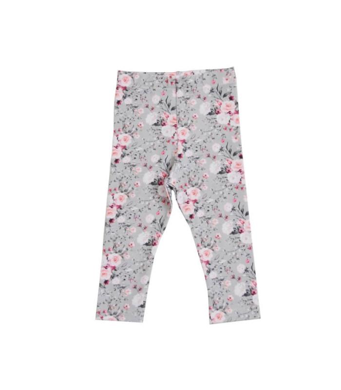 Leggings - Sisse - grå m. blomster - Petitflora