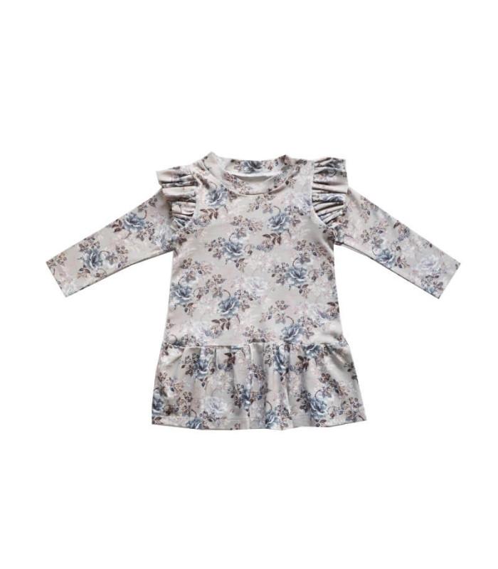 Kjole med flæser - Elisa - Grå - Petitflora