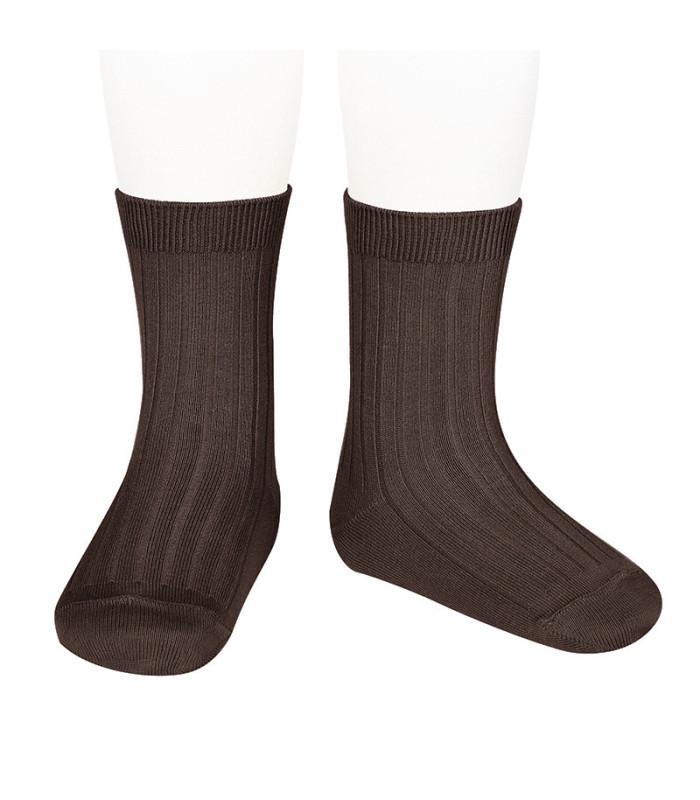 Cóndor - rib ankel strømpe - brun
