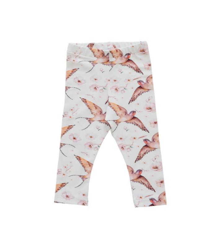 Leggings med print af fugle - creme - Petitflora