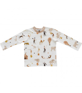 Drenge bluse - creme med print - Petitflora