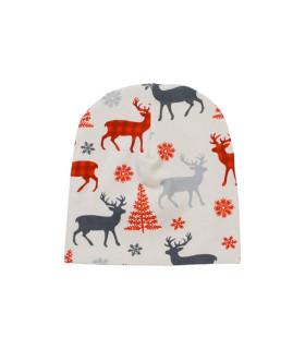 Bomuldshue børn med julemotiv - grå
