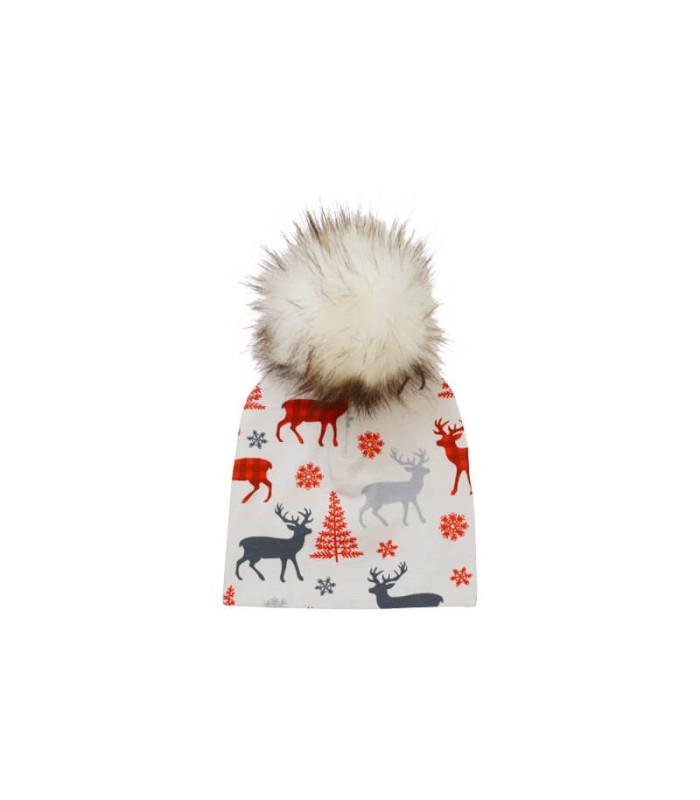 Hue med kvast baby med rensdyr og juletræer – grå – Hue – 0 – 3 mnd. (ca. 36 cm. )