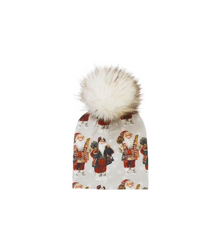 Babyhue med kvast med sød julemand – Hue – 0 – 3 mnd. (ca. 36 cm. )