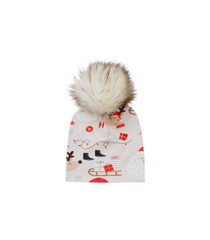 Bomuldshue børn med julemotiv og kvast – Hue – 1-3 år (ca. 44 cm )
