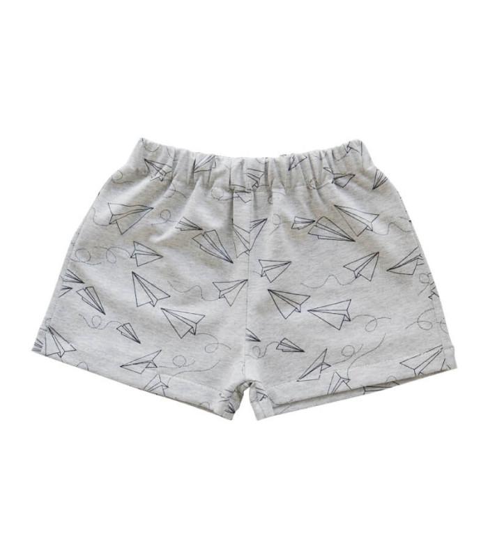 Shorts med papirs flyver - Grå