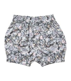 Shorts med blomsterprint i grålige nuancer
